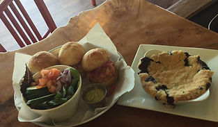 Smoked salmon sliders, pickled red onions, side salad & avocado dressing. GF blueberry cobbler.