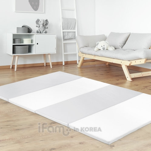 EDO BABY PLAYMAT for First Babyroom, Front:White/Gray, Back:White/Pink 2.0x1.4m
