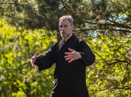 male tai Chi master practices qigong in
