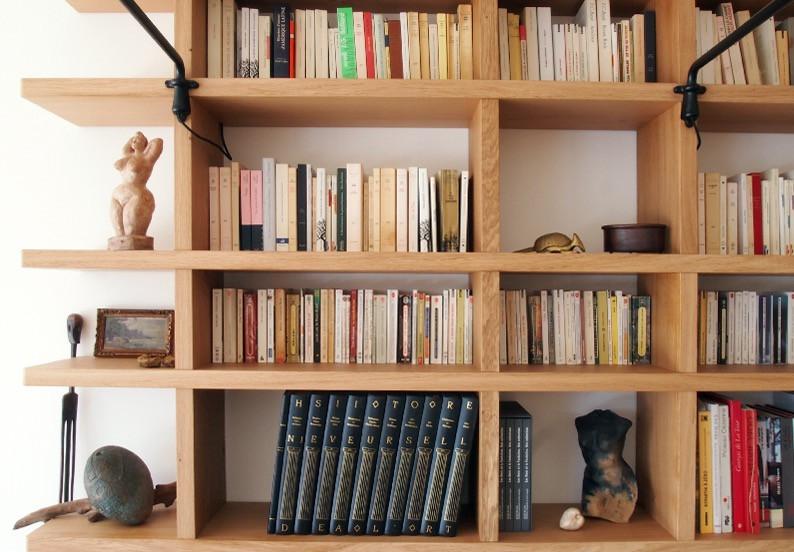 étageres de bibliothèque en chêne