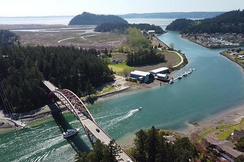 La Connor Bridge and Boat Drone