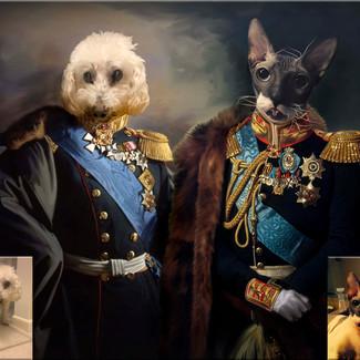 портрет домашних любимцев в исторических нарядах