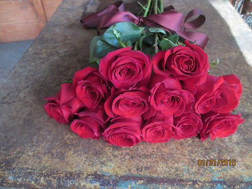 Perfect Ruby Red Rose Dozen