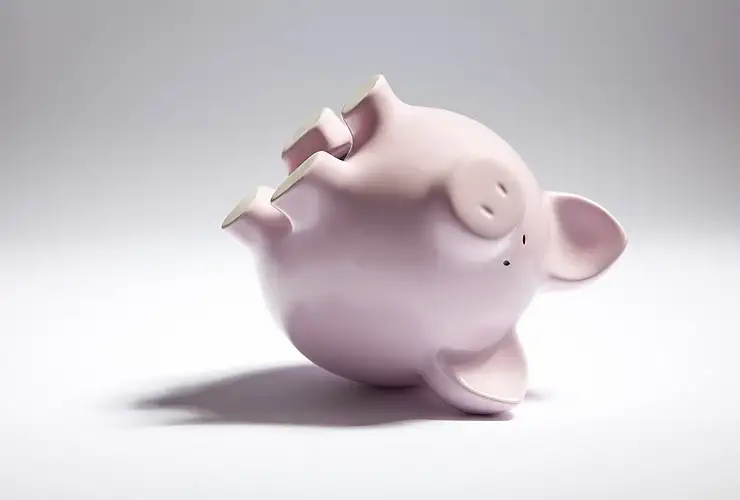 collapsed piggy bank