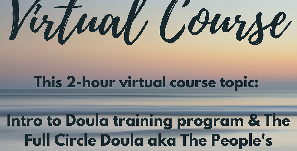 V-COURSE: 1 of 24 Intro To Doula Training Program, The Full Spectrum Doula Role