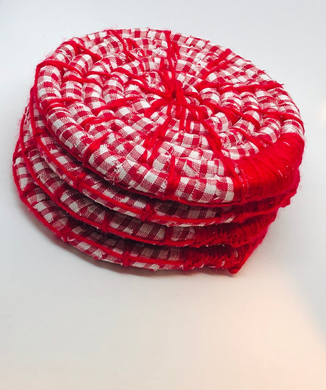 Red Gingham Coasters