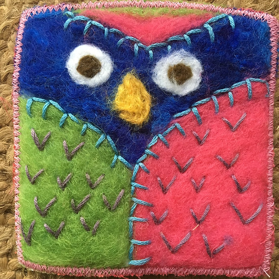 Owl Felted drink coaster