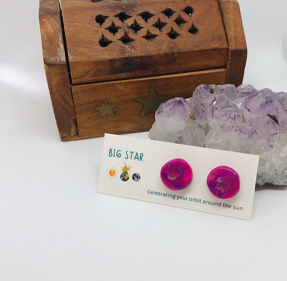 Pink Marble Studs