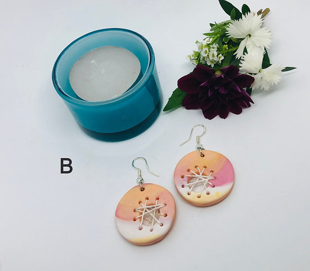 Clay and String Earrings