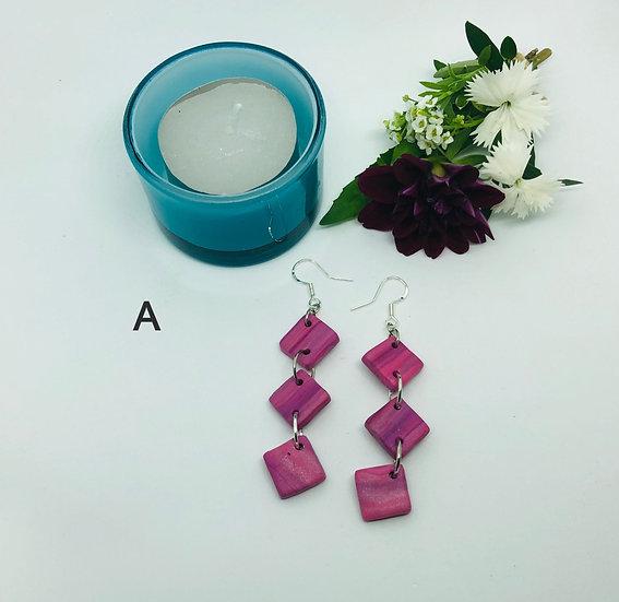 3 Drop Plum Clay Earrings