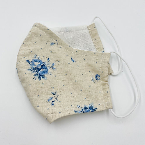 Reusable Water Blue Floral Print Double Layered Cotton Face Mask