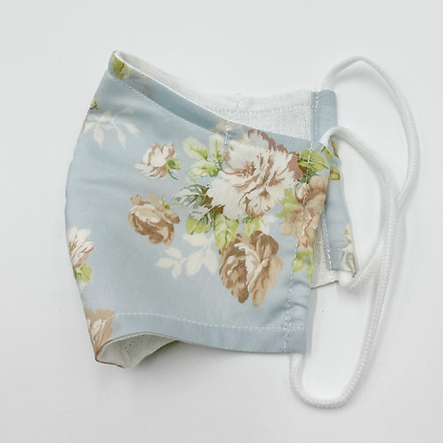 Reusable Water Blue Floral and Leave Print Double Layered Cotton Face Mask