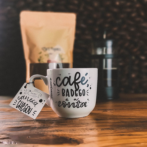 Xícara Café badego e a conta 350ml - Branca