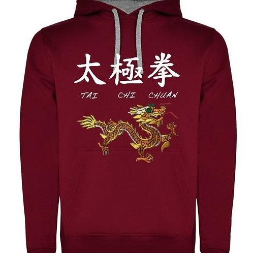 Мъжки ватиран суичър с надпис Тай Чи Чуан и златен дракон