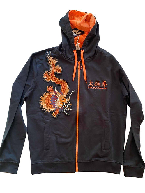 Ватиран суичър с надпис  бродерии  Тай Чи Чуан и оранжев дракон