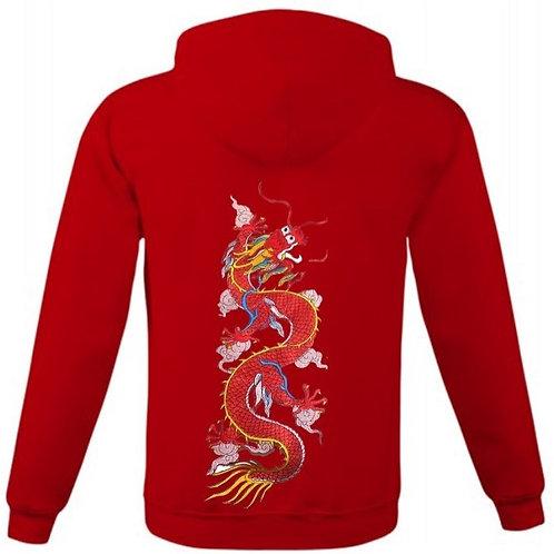 Ватиран суитчър с цип с и голяма червена бродерия на  дракон на гърба