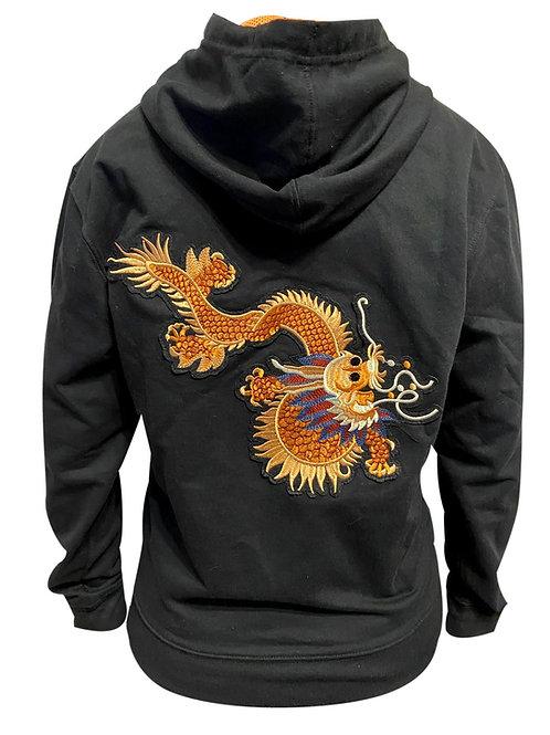Ватиран суичър с надпис бродерии Тай Чи Чуан и оранжев дракон на гърба
