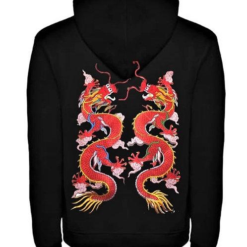Мъжки ватиран суичър с надпис Тай Чи Чуан и Червен дракон