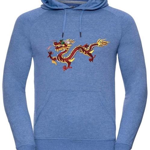 Бродерия на огнен дракон върху ватиран суичър унисекс