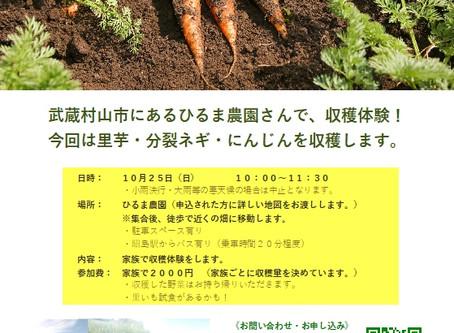 秋野菜の収穫体験 10月25日(日)