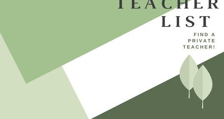 Private Teacher Lists