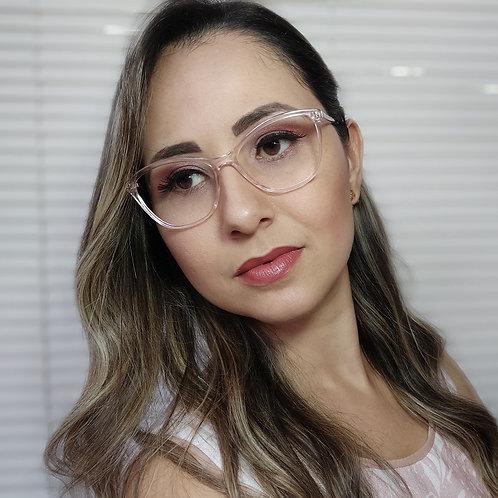 Armação Feminina Vintegy Rosa Transparente Óculos de Grau