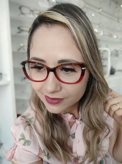 Armação Feminina RED Vermelha Degradê Óculos de Grau