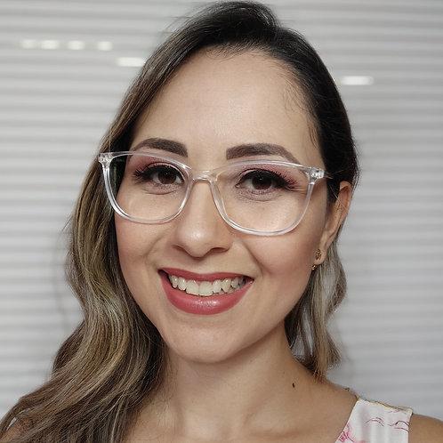 Armação Feminina Vintegy  Cristal Transparente Óculos de Grau