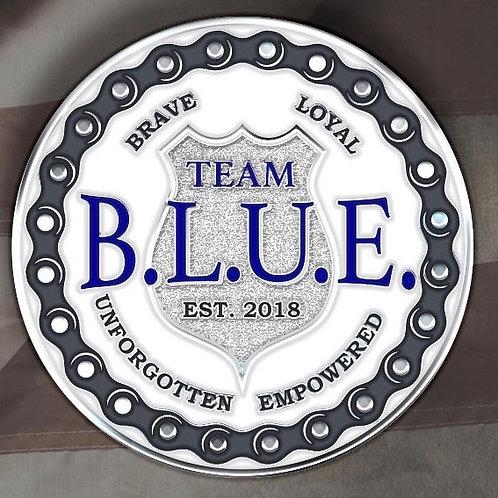 """2019 Iowa Team B.L.U.E. Public Donor Challenge Coin 1.75"""" Polished Silver"""