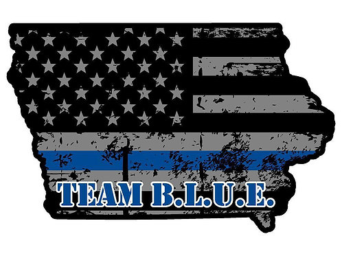 5 Official IOWA TEAM B.L.U.E. Sticker with $20 Donation