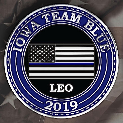 "2019 Iowa Team B.L.U.E. LEO Donor Challenge Coin  1.75"" Polished Silver"