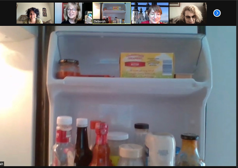 A screencapture of Zoom with 5 faces looking at a main screen showing someone's refrigerator interior.