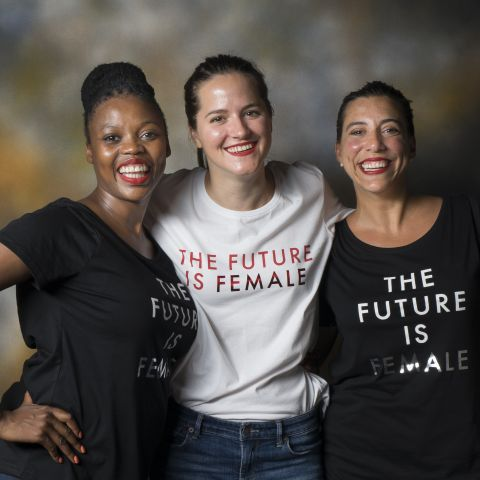 Left to right, Nwabisa Mayema, Zoja Kukic, and Macarena Botta, IVLP alumnae who host a podcast.