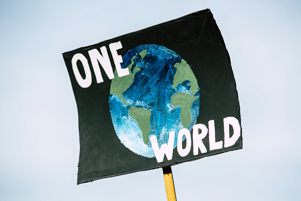 """A stock image of a protest sign with the words """"One World"""" overlaid on a painting of Earth from space."""