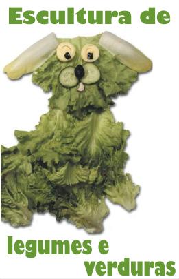 Escultura com verduras e legumes