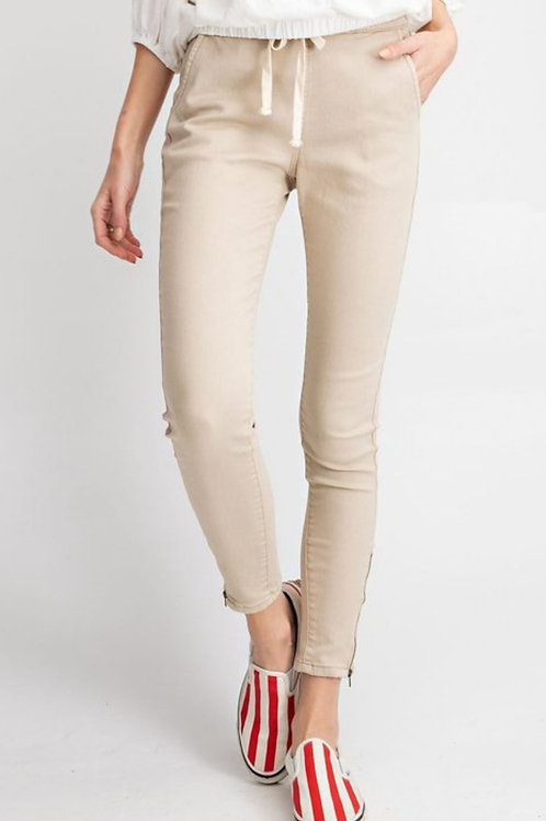 Textured high rise pant