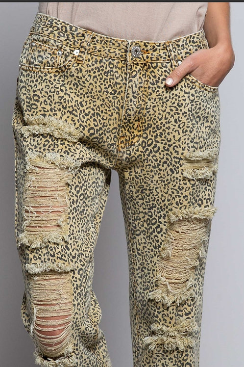 Distressed animal print pants