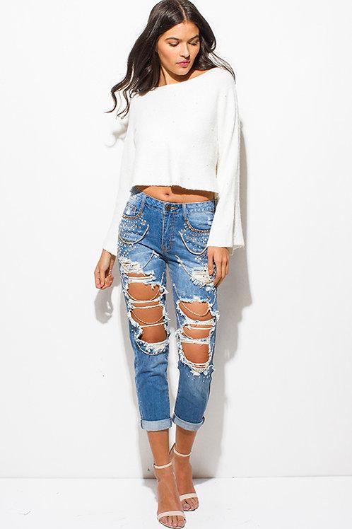 Boho distressed jeans