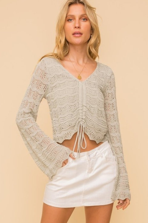 Ruched pointelle sweater