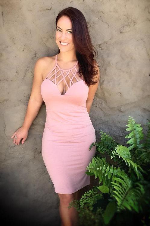 Detailed neckline dress