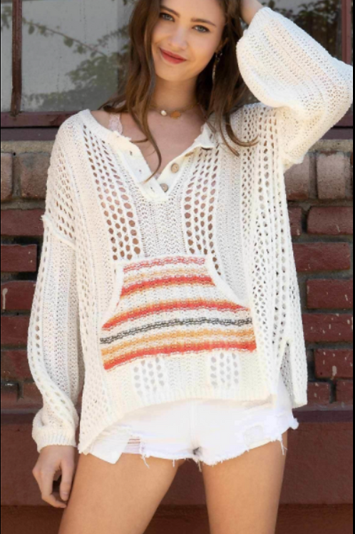 Wide knit pull over