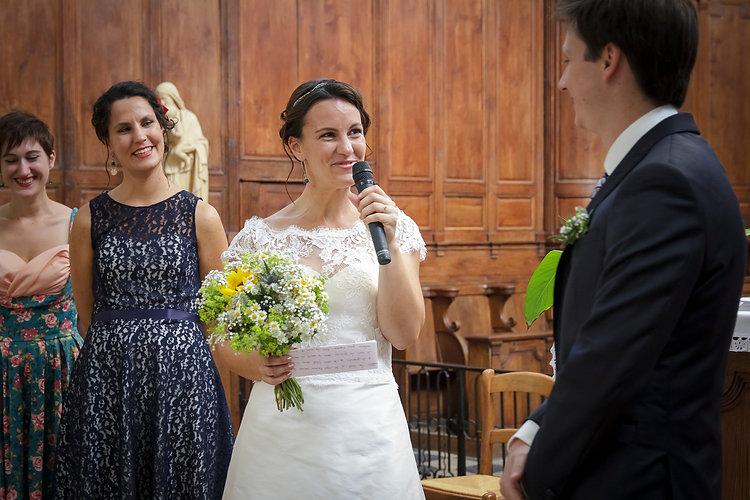 Mariage de Lucile et Fabien, Montreuil Bellay, Stéphane Guibert photographie Angers, échange des consentements dans l'église