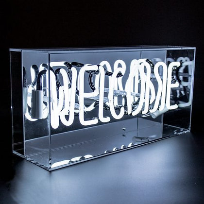White 'Welcome' Acrylic Box Neon Light