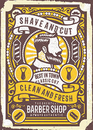 Clean And Fresh Barber Shop Metal Sign