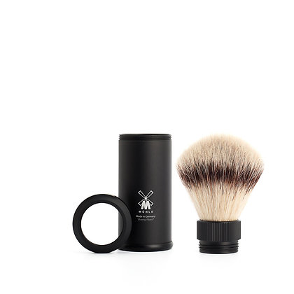 MÜHLE TRAVEL, Black Anodized Aluminum Silvertip Fibre Shaving Brush