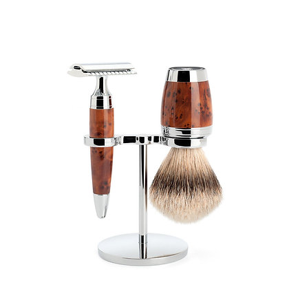 MÜHLE STYLO Thuja wood 3-piece Silvertip Badger / Safety Razor Shaving set