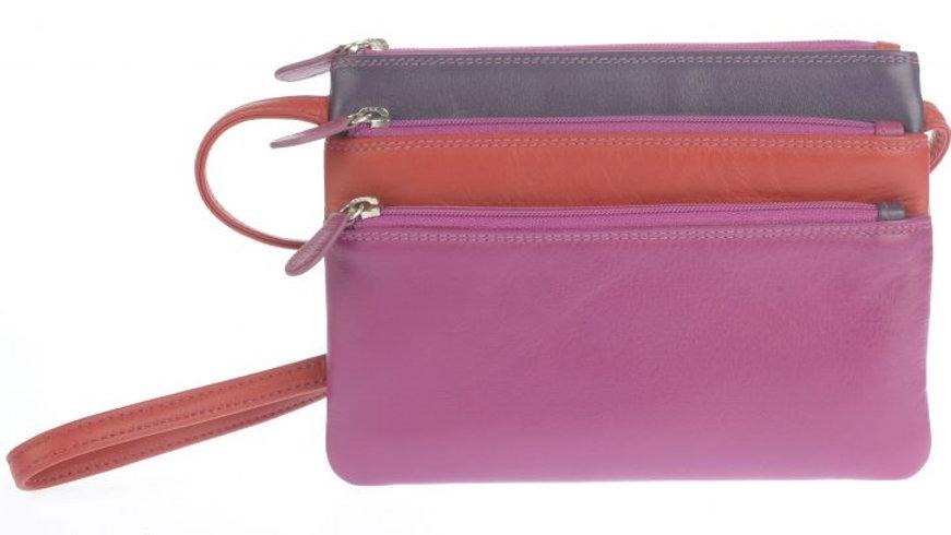 Golunksi Leather 3 compartment cross body bag