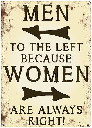 Women Always Right Metal Sign