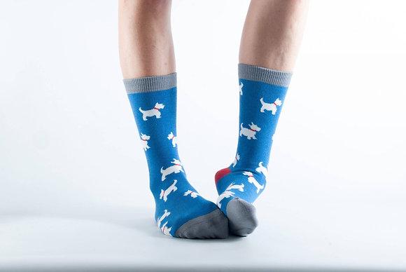 Doris & Dude Blue Westie Socks