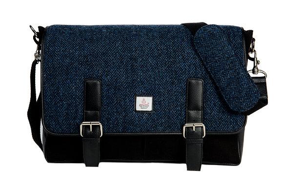 Harris Tweed Messenger Bag Blue